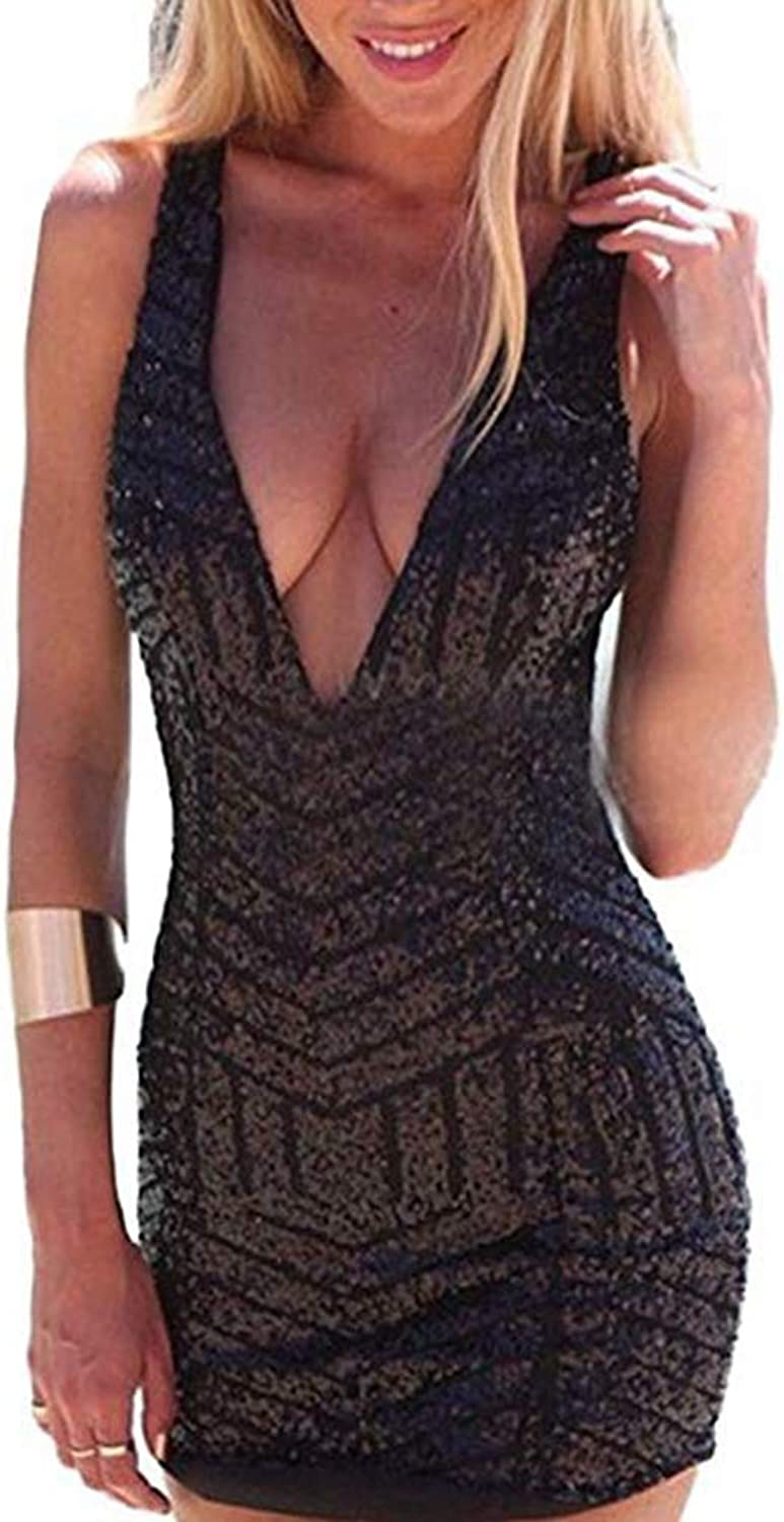 Memgoldse Womens Sexy Plunging V Neck Sleeveless Sequin Bodycon Halter Mini Clubwear Dress