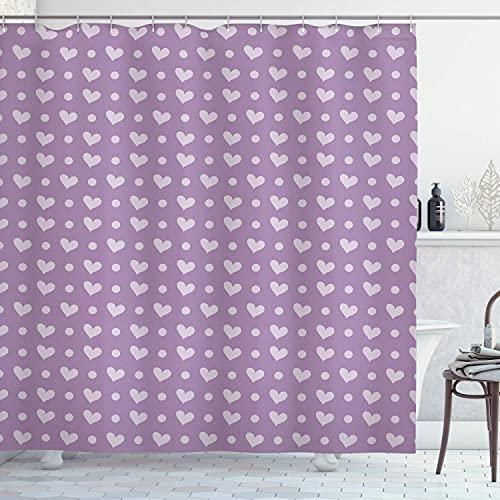lovedomi Cortina Ducha púrpura Lavanda púrpura día San Valentín Pareja Casada diseño en Forma corazón la Novia impresión Digital 3D baño Cortina Ducha 72x78 Pulgadas Que Incluye 12 Ganchos