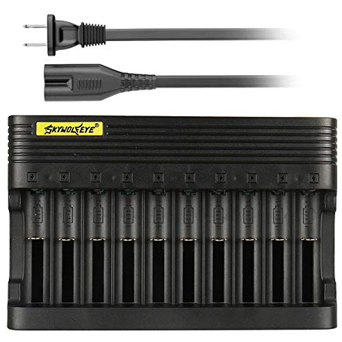 18650 Battery Charger, Skywolfeye 10 Slot Smart Universal Charger for 3.7v Li-ion Rechargeable Batteries Compatible 18650 26650 14500 16340 18500 10440 18350 17670 Battery Charger