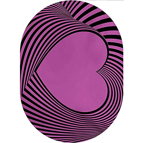 Pink Zebra Oval Area Rug Carpet,Heart Shape with Twisting Lines Happiness Love Valentines Day Themed Stripes Decorative Collection Rug,2'x 3'Oval,for Bathroom,Indoor,Kitchen and Outdoor
