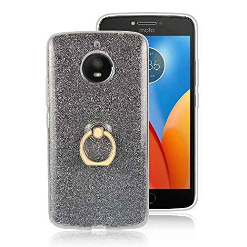 Ycloud Morbido TPU Silicone Custodia per Motorola Moto E4 Plus Smartphone, Glitter Brillantini Bling Cover con Fibbia ad Anello Staffa Slim Antiurto Caso (Nero)