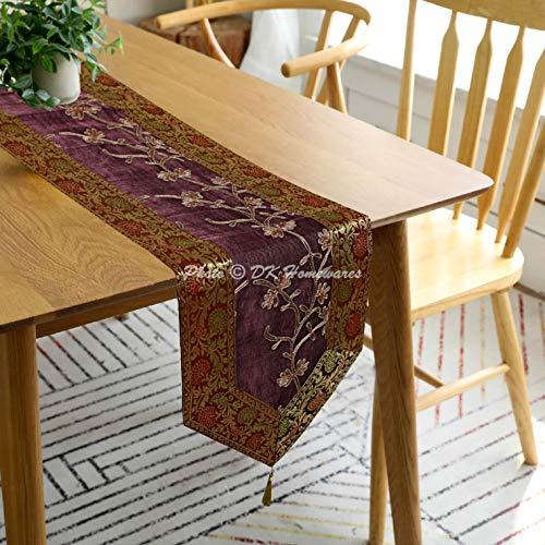 DK Homewares indische dekorative Brokat Gewebe Lange Tischläufer 72 Zoll für Parteien Boho Bestickt Ari Zari Quaste Kaffee und lila Jacquard Floral Rechteck 6 ft Tischdecke (35 x 180 cm)