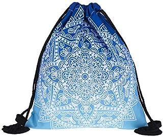 3D Digital Printing Blue Mandala Drawstring Bag