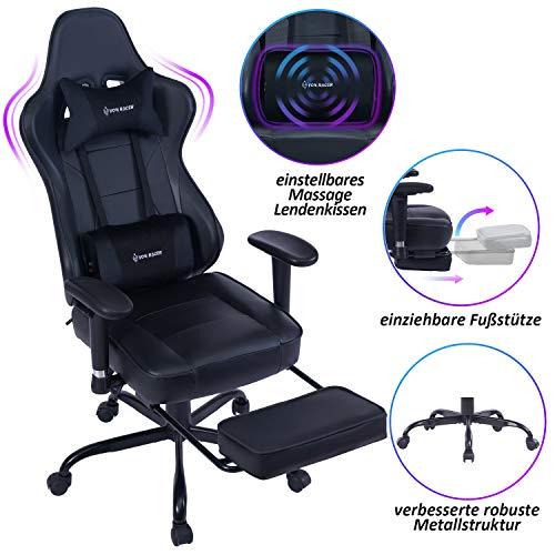 VON RACER Massage Gaming Stuhl - Hohe Rückenlehne Racing Computer Schreibtisch Bürostuhl Drehbarer Ergonomischer Chefsessel aus Leder mit Fußstütze und Verstellbaren Armlehnen, Black