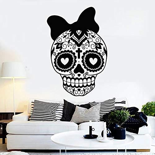 Día de los muertos símbolo Bowknot México cráneo chica mexicana amor corazón patrón vinilo pared pegatina coche dormitorio club estudio decoración del hogar mural