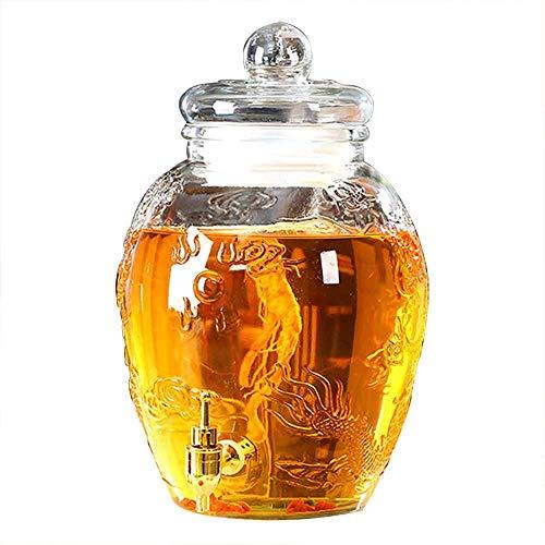 FMOGE Mason Jar Glass Beverage Dispenser with Metal Spigot, Glass Lid, Glassware for Water, Juice, Beer, Wine, Liquor, Kombucha Iced Punch-Best Cold Drinks,Wine Cabinets