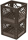 2 pieces brown Stacking Milk Crates High-Density Polyethylene Plastic Great for indoor AND outdoor storage, can be used on a shelf or on the floor, sold in pairs Manufactured in USA
