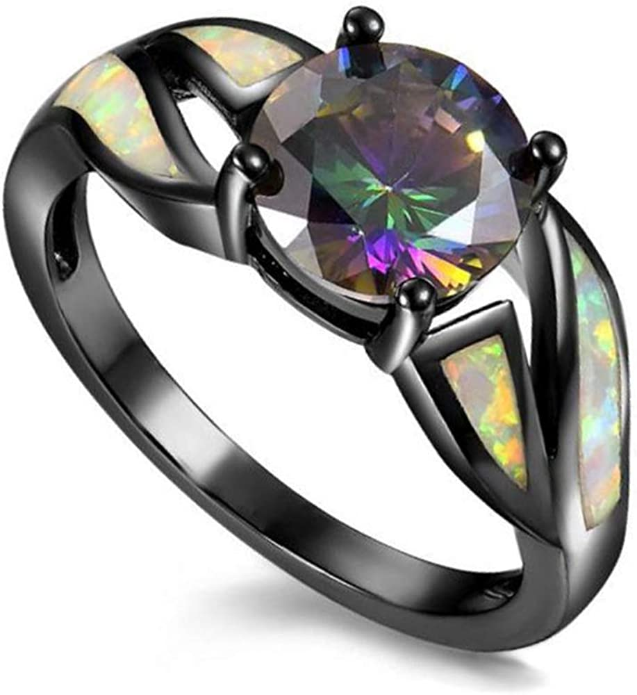 UFOROO Black Rhodium Plated Fire Opal infinity Ring Cubic Zircon Wedding Engagement Anniversary Rings For women
