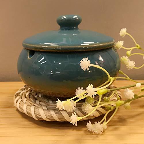 FeiQing Keramik-Aschenbecher mit Deckel, Zigaretten-Aschenbecher für den Innen- und Außenbereich, Aschenbecher für Raucher, Schreibtisch-Räucheraschenbecher für Zuhause und Büro, Dekoration (blau)