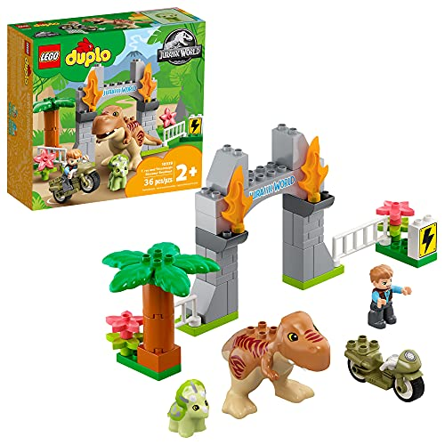LEGO DUPLO Jurassic World T. rex and Triceratops Dinosaur Breakout 10939 Building Toy Gift for Young Dinosaur Fans; New 2021 (36 Pieces)