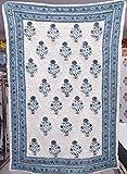 Traditional Jaipur Indigo weiß & himmelblau Blumen Blockdruck Kantha Arbeit Jaipuri Razai, Paar verwenden Decke Schlafzimmer Tagesdecke Quilt (90x108 Inches)