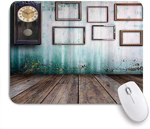Mauspad eine vintage-uhr und leere bilderrahmen in einem alten raum holz angepasste kunst mousepad rutschfeste gummibasis für computer laptop schreibtisch schreibtischzubehör