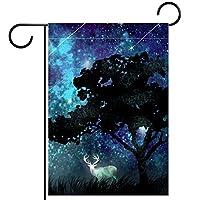 ホームガーデンフラッグ両面春夏庭屋外装飾 28x40INCH,星空の木