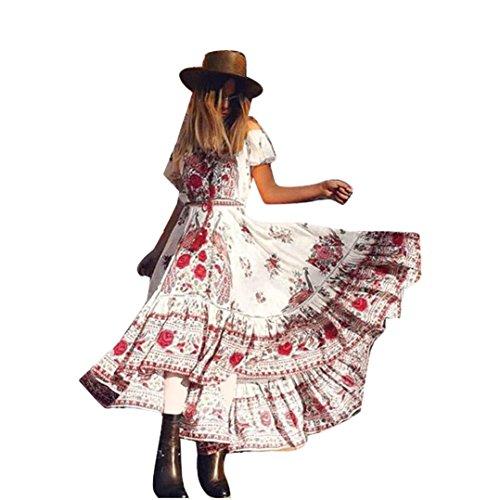Ninasill HOT Fashion Women Off Shoulder Bohemian Vintage Floral Print Short Sleeve Dress Skirt (Red, M)