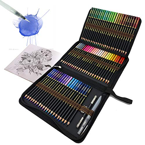 Set da 72 Matite Colorate Acquerellabili da Disegno, Comodo astuccio con zip per raggruppare e proteggere le tue matite colorate,Ideali per la Scuola, per Adulti e Bambini