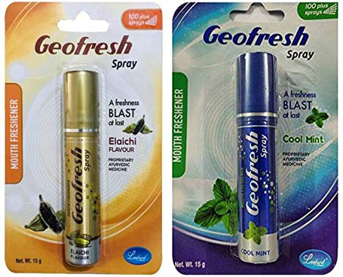 Geofresh Ayurvedic Instant Mouth Freshener Dual COMBO Spray (Cool Mint & Elaichi)15G