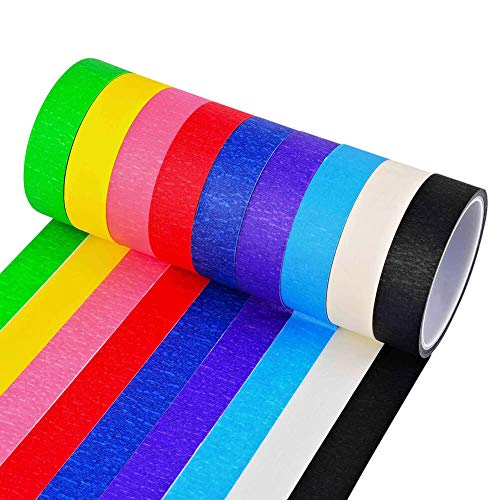 Selizo 9 Rolls 1 Inch Colored Masking Tape Thin Drafting Paper Tape for Kids Craft, Labeling, Painting, Packing