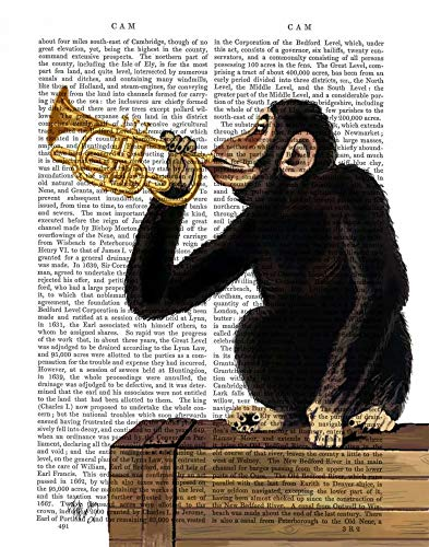 AFDRUKKEN-op-GEROLDE-CANVAS-Monkey-spelen-trompet-FabFunky-vrije-tijd-Afbeelding-gedruckt-op-canvas-100%-katoen-Opgerolde-canvas-print-Kunstdruk-op-gerold-Afmeting-49_X_38_cm