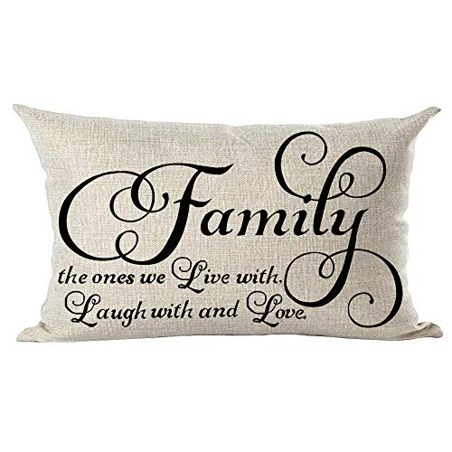 ramirar Black Word Art Quote Family The Ones We Live with Laugh with and Love Decorative Lumbar Throw Pillow Cover Case Cushion Home Living Room Bed Sofa Car Cotton Linen Rectangular 12 x 20 Inches