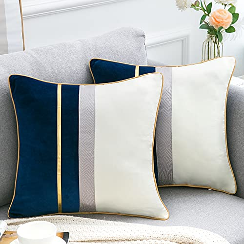 Navy Blue Patchwork Velvet Cushion Covers Gold Leather Striped Throw Pillow Cases Luxury Modern Throw Pillow Cover for Couch Living Room Bedroom Car Sofa Decorative Cushion Cover 45cm x 45cm Set of 2