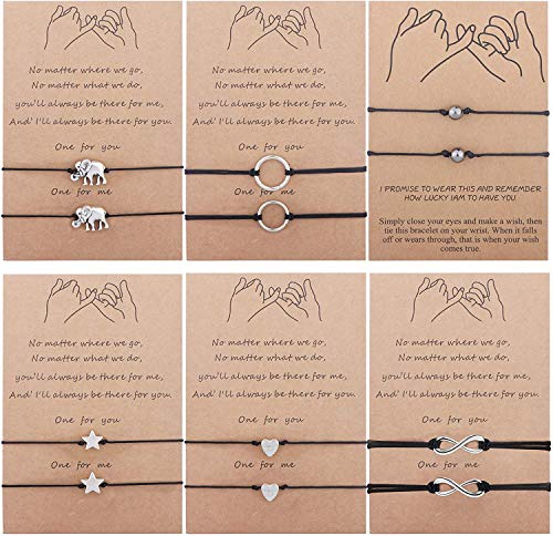 Adramata 12PCS Pinky Promise Bracelet Anklets Adjustable Friendship Couple Family Long Distance Bracelet with Message Card Handmade Waterproof Cord Relationship Bracelets