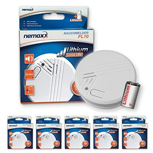 5X Nemaxx FL10 Rauchmelder - hochwertiger Rauchwarnmelder mit langlebiger 10 Jahre Lithium-Batterie - nach DIN EN 14605