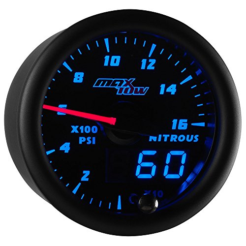 MaxTow Double Vision 1,600 PSI Nitrous Pressure NOS Gauge Kit - Includes Electronic Sensor - Black Gauge Face - Blue LED Illuminated Dial - Analog & Digital Readouts - 2-1/16