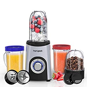 Smoothie Blender, Homgeek Multifunctional Blender Smoothie Maker 23000 RPM, 13 Piece Set, Blender Mixer for Smoothie, Juicer, Ice Crush, Spices, Portable Cups, 350W