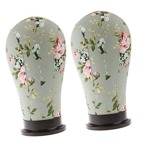 dailymall 2x Tête De Mannequin Dessin Floral Exposition Perruque Casque Bijoux Echarp - Gardénia