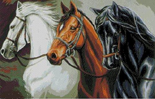 3 horses counted cross stitch kits ,3 馬刺しゅうキット エジプト綿 14ct 59*40 cm 270*172針 刺しゅうキット,クロスステッチ キット