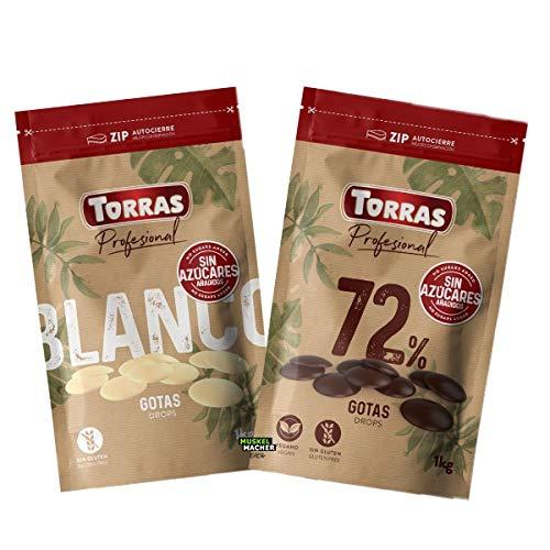 Torras Schoko Drops, 72% Kakaogehalt, Dunkle Schokoladen Drops ohne Zucker, Bigpack (1.000g)