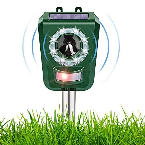 Repellente Gatti per Tenere Lontani Cani, Gatti, Uccelli, Repellente Ultrasuoni, Ricarica USB e Solare, Frequenza Regolabile, Impermeabile per Ambienti Esterni