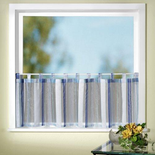 heimtexland Gardinen Scheibengardine Schlaufenbistro Effektorganza mit Webstreifen, Farbe Blau, Höhe 45cm x Breite 150cm Typ127