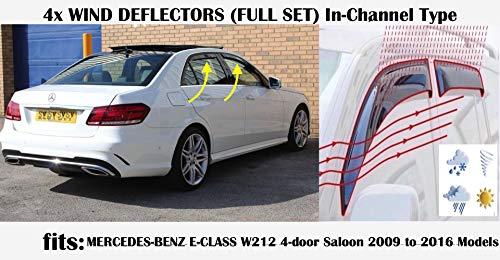 OEMM Windabweiser für Mercedes Benz E-Klasse W212 Limousine 4-Türer 2009 2010 2011 2012 2013 2014 2015 2016 Acrylglas-Fensterabweiser