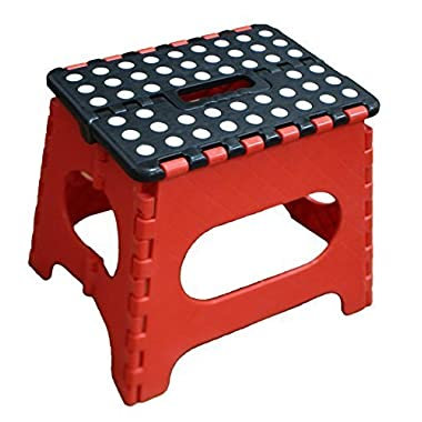 Jeronic Super Strong Folding Step Stool for Adults and Kids, Red Kitchen Stepping, Garden Step Stool, Holds up to 300 lbs.