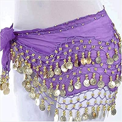 OPCC Belly Dance Hip Skirt Scarf Wrap Belt costume with Rows Gold Coins (purple)