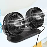 Qisiewell Ventilador de coche con ventilador doble de 3 velocidades, rotación...