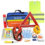 QLOUNI 12-In-1 Car Emergency Tool Kit Auto Safety Kit for European Travel, Breakdown Kit Roadside Assistance...