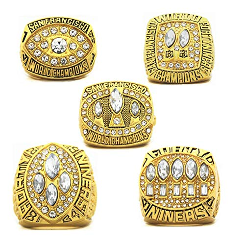 SF 1981 1984 1988 1989 1994 5-time Champions Rings Set with Box '49ers Christmas birthday present Gifts for Men Women Kids Boys San Francisco Championship Rings