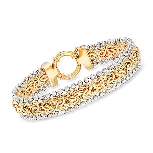 Ross-Simons Byzantine Beaded Bracelet in Sterling Silver and 18kt Yellow Gold Over Sterling. 7 inches