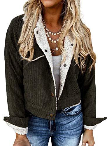 Sidefeel Women Corduroy Long Sleeve Button Up Lapel Fleece Sherpa Lined Short Jacket Coat Medium Green
