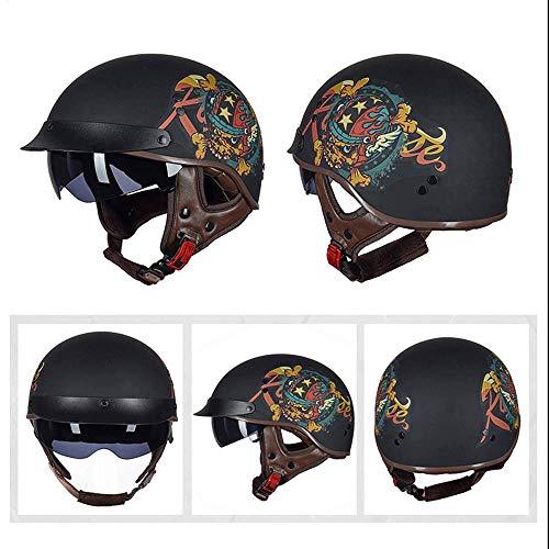 Helmets Retro Casco Moto Abierto Medio Casco con Visera UV Gafas Vintage Open-Face Casco Moto Abierto Half-Face Dot Homologado,Profesional Half Helmet para Mujer y Hombre