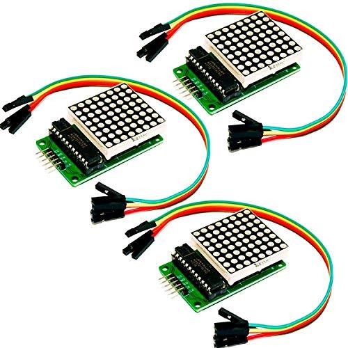 AZDelivery 3 x MAX7219 8x8 1 Dot Matriz Modulo de pantalla LED MCU Matrix para Arduino con eBook incluido