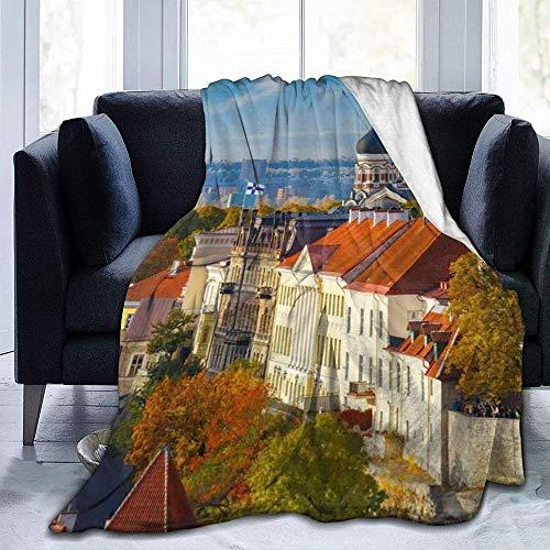 DWgatan Couverture,Couvre-lit de canapé Polyvalent Doux et Chaud de qualité Tallinn Estonia Cityscape Printed Blanket for Bedroom Living Room Couch Bed Sofa -60\