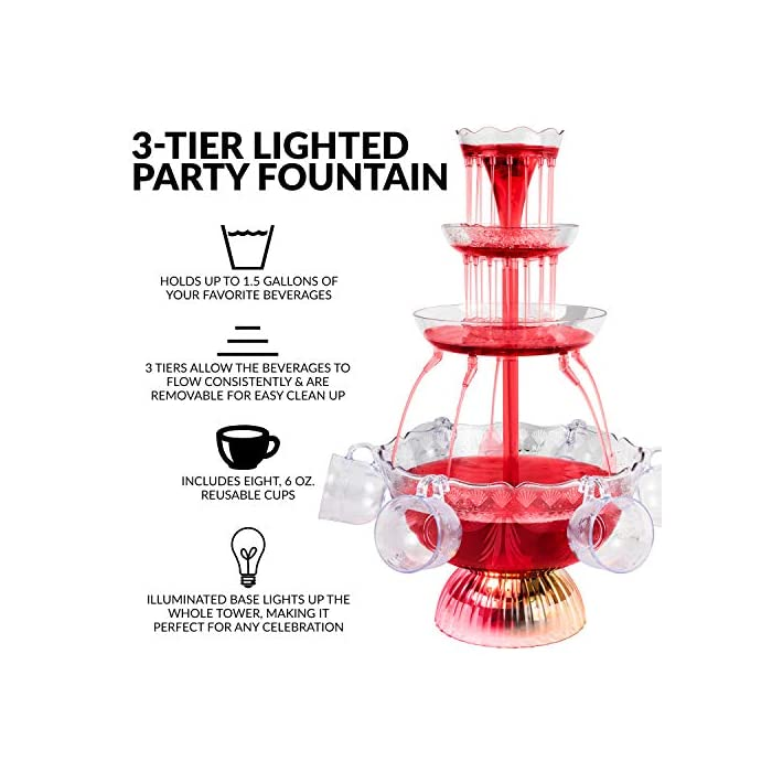 Nostalgia 3 Tier Party Fountain Holds 15 Gallons Led Lighted Base Includes 8 Reusable Cups 15 Gallon Clear