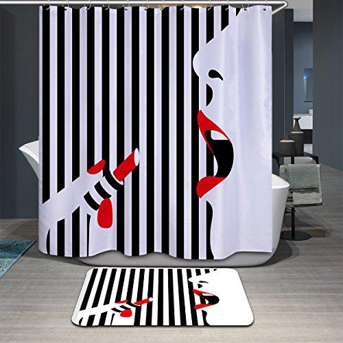 Antart Rideau de Douche Fille-Mode-2 180x180cm et Tapis de Bain Assortissant - Tissu Polyester Imperméable Anti-moisissure Imprimé Numérique Avec 12 Crochets - Accessoires Salle de bain - Thème Modern