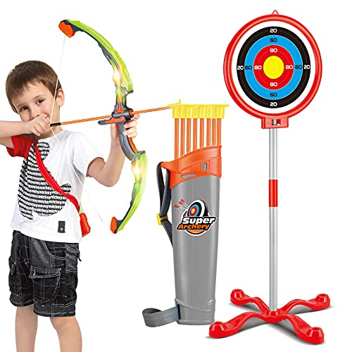 Bow and Arrow for Kids with LED Lights - Upgrade Archery Set Includes 1 Super Bow, 8 Suction Cups Arrows, 2 in 1 Target and Quiver, Practice Indoor or Outdoor Toys for Kids 6-12 Years Old(Green)