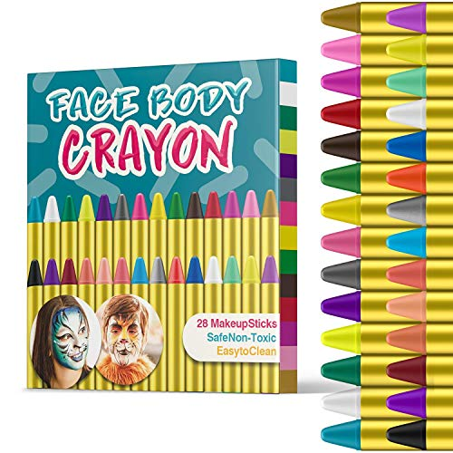 HENMI Easter Face Painting, 28 Bright Colors Face Paint Crayons Safety Face Body Paint Sticks Tatoo Paint Crayons for Toddlers Carnival Easter Party Cosplay, EN71 Certified