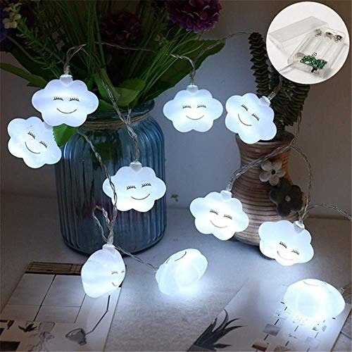 ARTFFEL Fly LED Starry Night Lights 2/3/6M String Lights 5.5cm Cloud Shape Lamps Dry Battery Operated Christmas Tree New Year Indoor Lights (Emitting Color : White, Style : 6M 40LEDs) Birthday