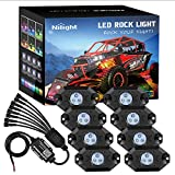 Nilight RGB LED Rock Lights Kit, 8 pods Underglow Multicolor Neon Light Pod w/Bluetooth App Control Timing Function Flashing Music Mode IP68 Exterior Wheel Well Light for Truck ATV UTV RZR SUV